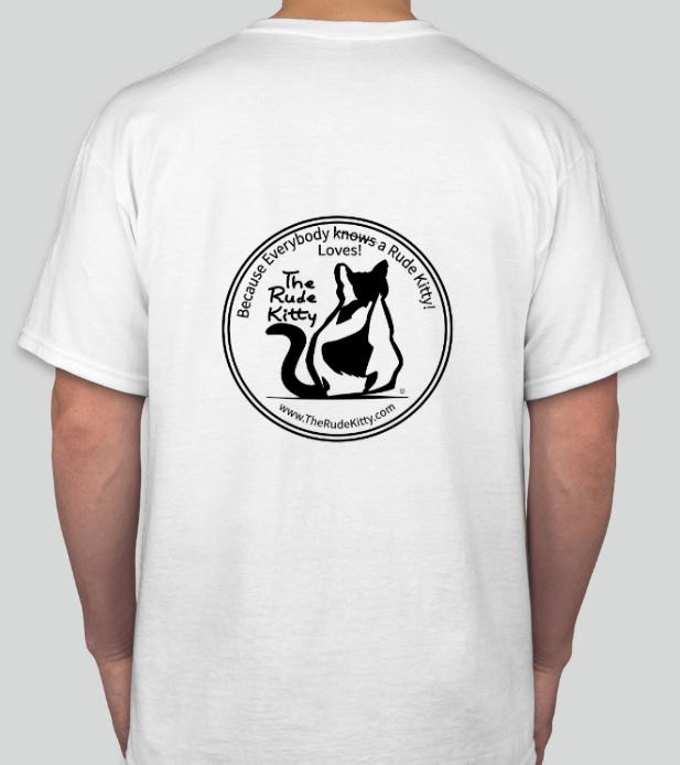 white rude kitty tee shirt